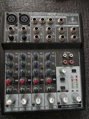 (No Power Supply) BEHRINGER XENYX 802 MIXING DESK MIXER 8 INPUTS 2 CHANNEL • 20£