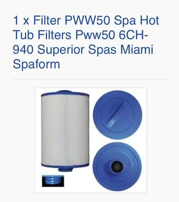 1 X Superior Spas/Miami Spas Hot Tub Filter PWW50 6CH-940 - SC714 • 14£