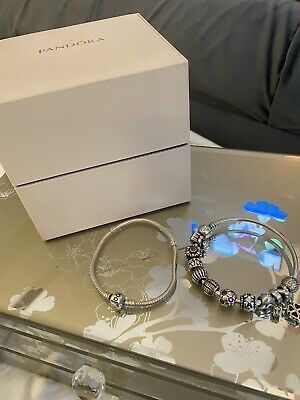 Pandora Braclet Bangle Charms & Box  • 189£