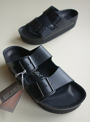 New PAPILLIO BIRKENSTOCK Heeled Leather Sandal ARIZONA PAP EXQ Black 38 US7 UK5 • 180.82£