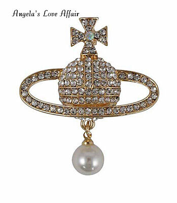 Gorgeous Gold Crystal Faux Pearl Orb Planet Saturn Cross Brooch Pin Easter Gift • 5.70£