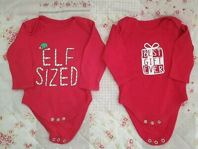 ♡♡ 2 X Nutmeg Unisex Christmas Bodysuits Age 3-6 Months, Immaculate ♡♡ • 1.50£