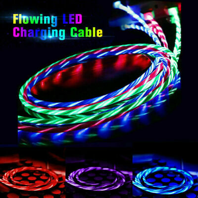LED Flowing Light Up Charge Cable For IPhone / Samsung / Android / Mobile Phone • 3.68£