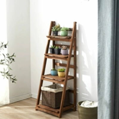 Wooden Ladder Shelving Unit 5 Tier Display Stand Book Shelf Wall Rack Storage • 34.98£