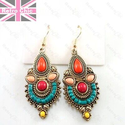 £2.99 • Buy 6cm Long MULTI Jewelled EARRINGS Antique Gold Fashion FAUX TURQUOISE Ethnic Bead