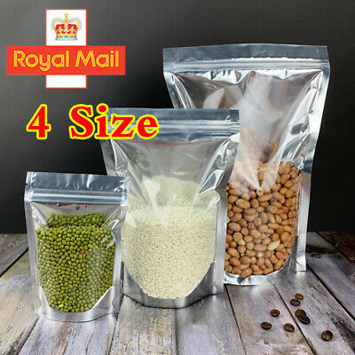 Clear Aluminum Foil Mylar Stand Up Retail Bags Zipper Seal Pouches Packaging Bag • 8.39£