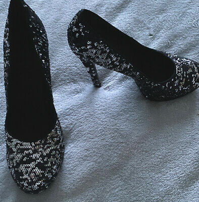 Black High Heel Sequin Sparkly Platform Shoes Never Worn Outside • 1£
