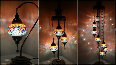 £79.98 • Buy New 1/3/7 Multi Glass Turkish Moroccan Style Glass Floor/Table Lamp-UK Certified