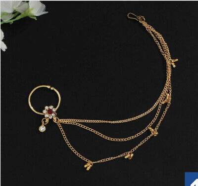 Indian Imitation Jewellery/ Bridal/Party/ Gold, Pearl Nath Nose Ring • 7.99£