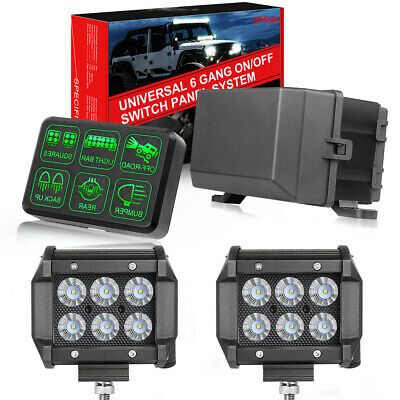 AU139.59 • Buy 6 Gang Switch Panel Electronic Control System+ 2x 4  LED Work Light Bar Pods 4WD