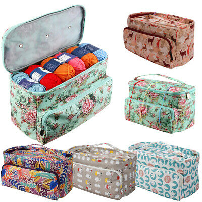 Knitting Yarn Storage Bag Case Crochet Hooks Thread Sewing Kits Organizer Bags • 14.46£