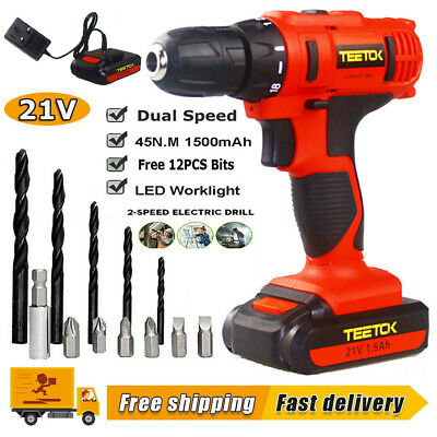 Cordless Drills Driver Power Tool Kit Rechargeable 12Pcs Bits LED Light +Charger • 27.48£