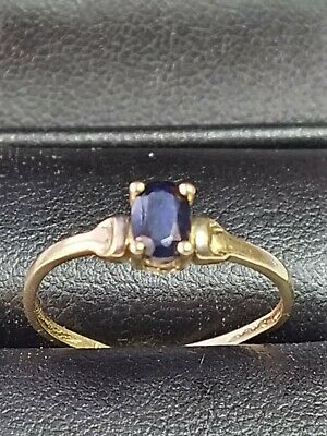 Beautiful Vintage 9ct Gold And Sapphire Solitaire Ring Size P • 100£