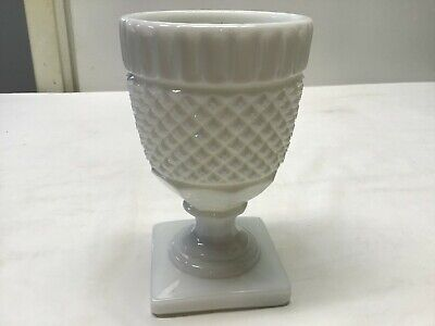 $7 • Buy Vintage Milk Glass Footed Tumbler-Goblet-Wine Glass In Diamond Quilt Pattern