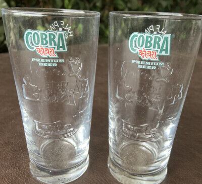 2 X Cobra Indian Lager Half Pint Glasses- Bar/Home/Collectable/Gift • 4.99£