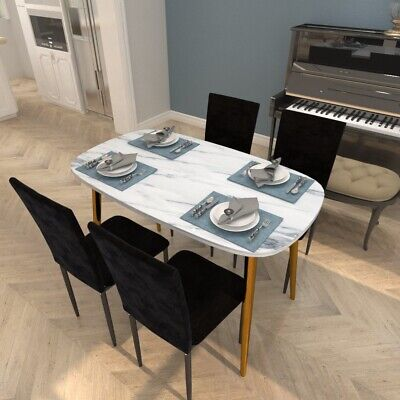 Dining Rectangle Marble Effect Table & 4 Black Velvet Fabric Chairs Kitchen Set • 89£