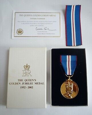 Genuine Queen's Golden Jubilee Medal 1952-2002 In Box Of Issue With Coa • 110£