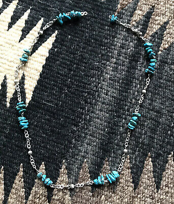 Sweet Native American Style Turquoise Beads Stones  Simply Necklace • 10£