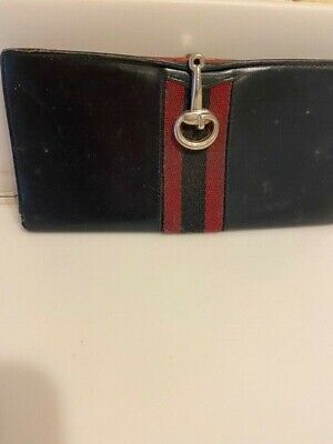 $65 • Buy Rare Real Old Gucci Bi Fold Long Wallet Red Line  Leather Vintage