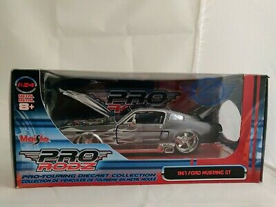 $33 • Buy Pro Rodz Maisto Die Cast Scale 1:24 Silver Gray 1967 Ford Mustang Gt Packaged