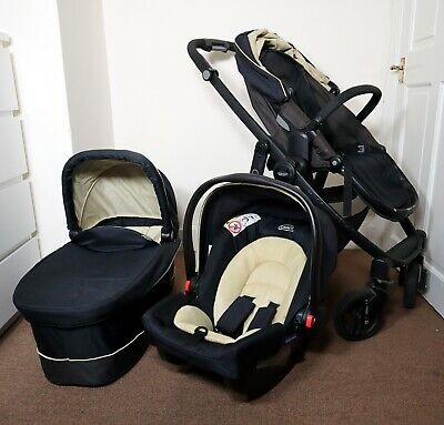 Graco Evo Trio Pushchair Carrycot And Car Seat Full Travel System 3 In 1 Pram • 129.99£