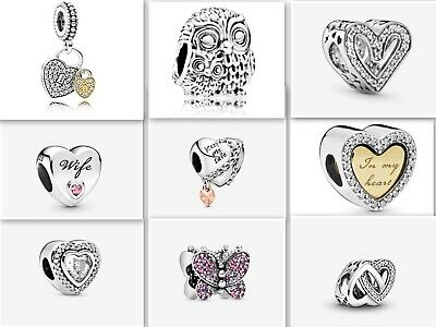 S925 Sterling Silver Charms - Heart/Love/Family (Compat With Pandora Bracelets) • 8.99£