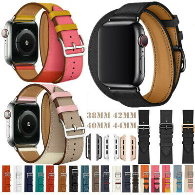 AU19.33 • Buy Genuine Leather Band Double Tour Bracelet For Apple Watch Straps 38/42mm 40/44mm