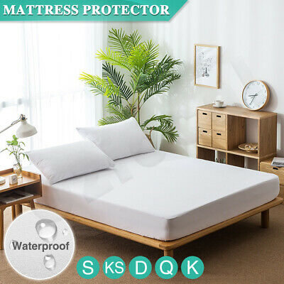 AU23.55 • Buy All Size Mattress Protector Topper Terry Cotton Fitted Bed Cover Waterproof AU