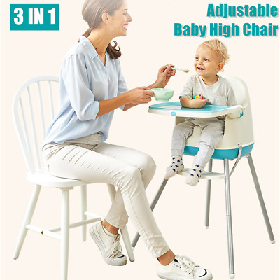 UK 3-In-1 Baby Highchair Adjustable Infant High Feeding Seat Toddler Table Chair • 28.53£