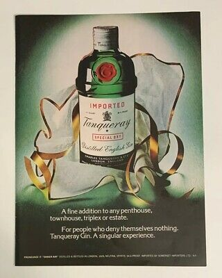 £6.91 • Buy 1974 Tanqueray Gin Print Ad Bottle A Fine Addition A Singular Experience