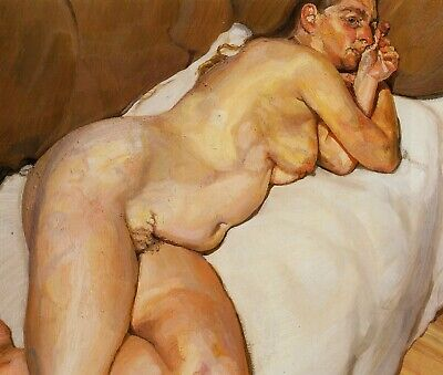 Naked Woman On Sofa Lucian Freud Print In 11 X 14 Inch Mount Ready To Frame • 19.95£