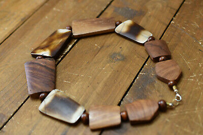 Wooden Bead And Shell Statement Choker Necklace • 9.99£
