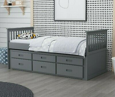 £359 • Buy Captain Cabin Bed Frame Wooden 3ft Single Grey Or White Children's Guestbed