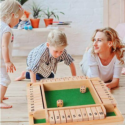 £10.88 • Buy Wooden 4Players Shut The Box Dice Game Tabletop Family Parents Kids Board Games#