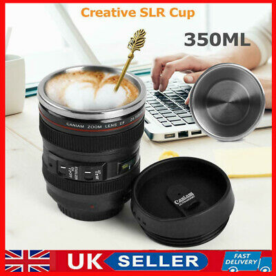 UK 350mL Camera Lens Coffee Tea Mug Cup With Stainless Steel Thermos Lid Gifts • 10.67£