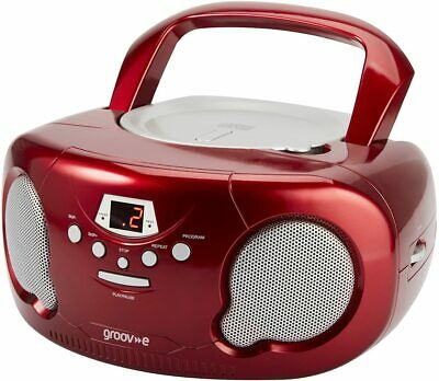Groov-e Portable CD Player Boombox With AM/FM Radio, 3.5mm  Red • 32.99£