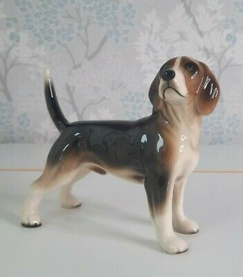 Vintage Ceramic Beagle Dog Ornament Figurine Brown Cream Mix    GIFT • 12.99£