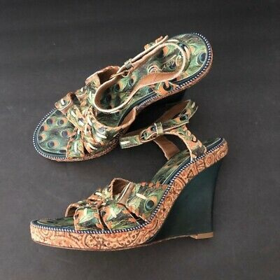 ICON Whimsical Peacock Feather Tall Wedges Wedge Sandals  8M 4.5 Inch Heels • 33.29£