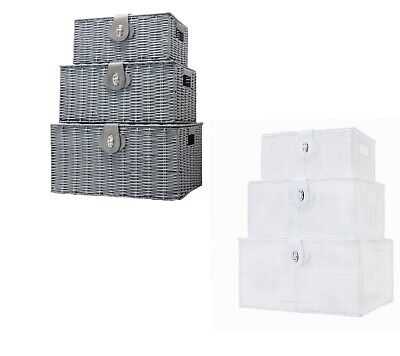 LYNEN Set Of 3 Resin Wicker Woven Storage Baskets Hamper Box With Lid & Lock • 19.99£