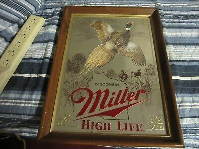 $69.99 • Buy Miller Beer Sign Mirror Wildlife Collection Wisconsin Pheasant Hunting Bar Pub