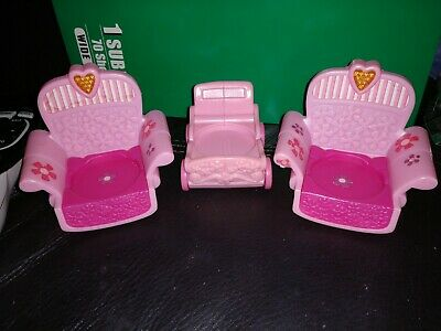 My Little Pony Baby Carriage Stroller Pink Mcdonalds & Set Of 2 Chairs • 5£