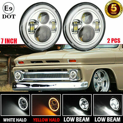 AU73.99 • Buy  2x 7  LED Headlight Chrome Projector Sealed Beam With DRL For Chevrolet C10 C20