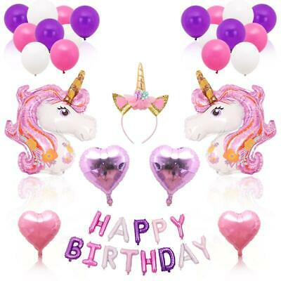 AU19.95 • Buy Large Unicorn 38pc Balloon Bouquet Headband Birthday Party Supplies Decoration