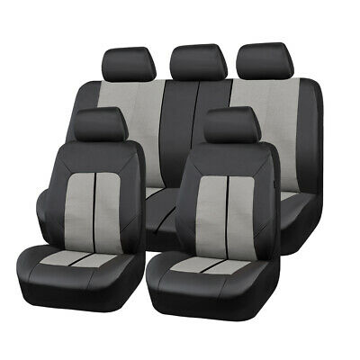 AU91.19 • Buy Universal Gray Leather&Mesh Car Seat Covers Breathable Fit For SUV Van Sedan