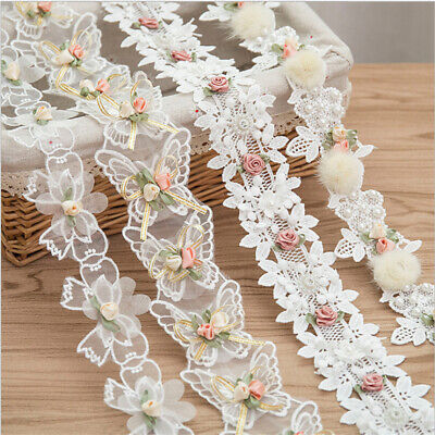 1Yard Flower Embroidered Trim Lace Ribbon Fabric DIY Wedding Dress Sewing Craft • 3.65£