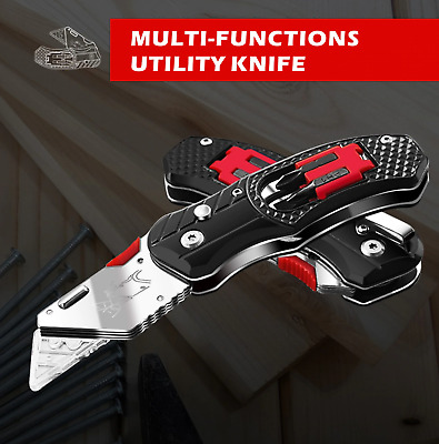 £20.85 • Buy Stainless Steel Folding Utility Knife Woodworking Outdoor Camping W/ Five Blades