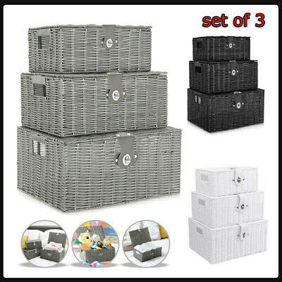 SET OF 3 Storage Baskets Resin Wicker Woven Hamper Tidy Box With Lid & Lock New • 16.68£