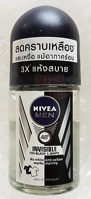 NIVEA FOR MEN INVISIBLE FOR BLACK AND WHITE 48 HR DEODORANT ROLL ON 25ml • 7.35£