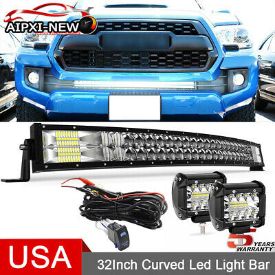 $71.99 • Buy For 05-15 TOYOTA Tacoma Bumper Hidden Grille 32 IN LED Light Bar Tri-Row 5D Wire