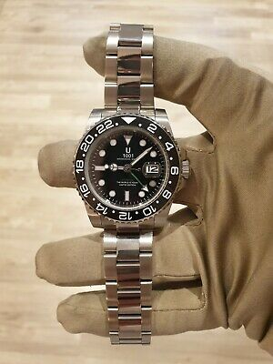 £99.99 • Buy Mens Submariner Homage Watch BLACK With Green GMT Automatic 1001 😎😍